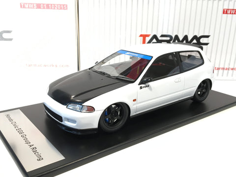 Tarmac Works 1/18 Spoon Honda Civic EG6 - White with Black Bonnet