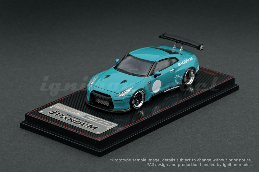 Ignition Model 1/64 PANDEM R35 GT-R Turquoise Blue - Tarmac Works Exclusive Color