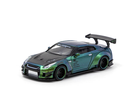 MINIGT x Tarmac Works 1/64 LB★WORKS Nissan GT-R (R35) Type 2, Rear Wing Ver 3 Magic Green LHD - COLLAB64