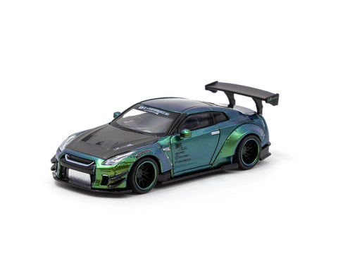 MINIGT x Tarmac Works 1/64 LB★WORKS Nissan GT-R (R35) Type 2, Rear Wing Ver 3 Magic Green RHD - COLLAB64