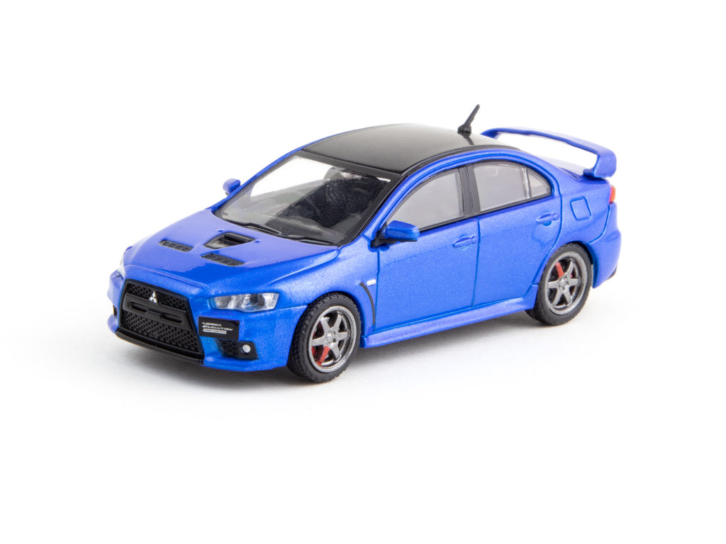 Tarmac Works 1/64 Mitsubishi Lancer Evolution X Final Edition Octane Blue with TE37 Wheels - ROAD64