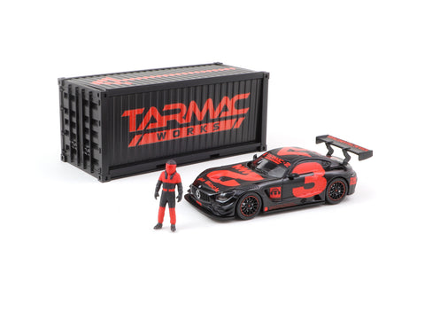 Tarmac Works 1/64 Mercedes-AMG GT3 4A Like Black No. 3 (Red) with Container - WebStore Special - HOBBY64