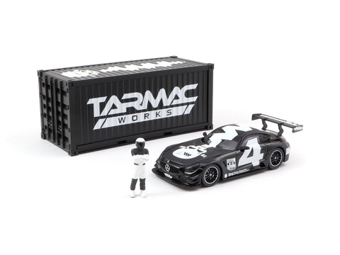 Tarmac Works 1/64 Mercedes-AMG GT3 4A Like Black No. 4 (White) with Container - WebStore Special - HOBBY64
