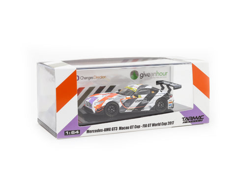 Give an Hour / 320 Changes Direction Special Charity Edition - Tarmac Works 1/64 Mercedes-AMG GT3 Macau GT Cup - FIA GT World Cup 2017 3rd Place Maro Engel