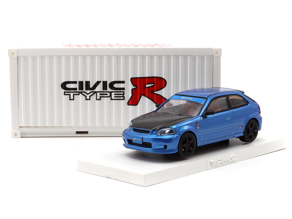 Tarmac Works 1/64 Honda Civic Type R EK9 Blue with special container - Hong Kong Exclusive Model