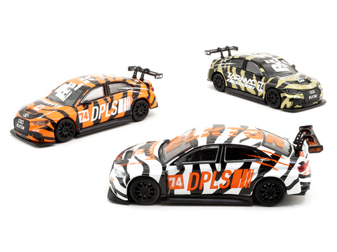 Tarmac Works 1/64 Audi RS3 LMS BLKTGR - 3 Cars Set (Black / White / Orange) - Tarmac Works x DPLS Special Edition - HOBBY64