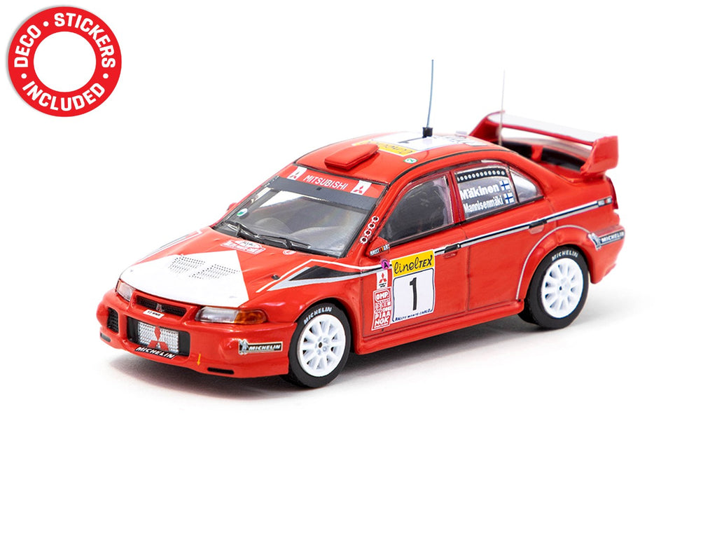 Tarmac Works 1/64 Mitsubishi Lancer Evolution VI Monte Carlo Rally 2000 #1 Winner - HOBBY64