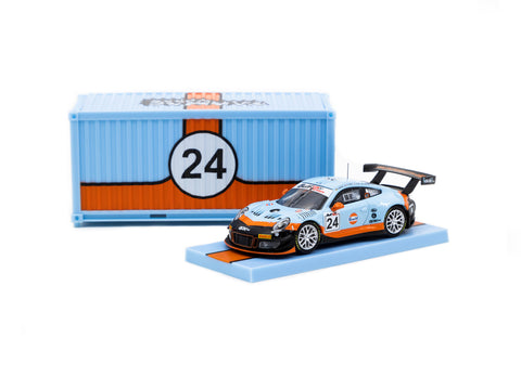 Tarmac Works X iXO Models 1/64 Porsche 911 GT3 R GULF 12H 2018 #24 with Container - HOBBY64