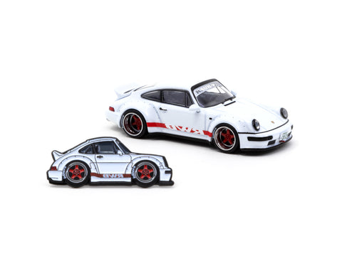 Tarmac Works 1/64 RWB 964 White with Red Stripe with Tarmac Works X Leen Customs Lapel Pin - Tokyo Auto Salon 2021 Special Edition - HOBBY64