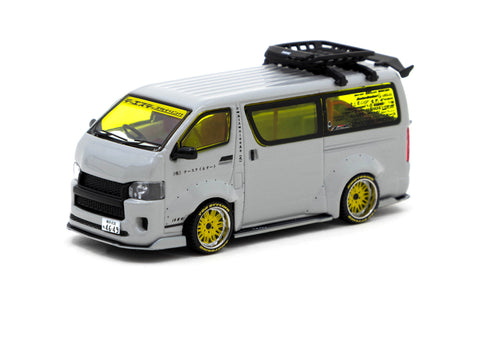 Tarmac Works 1/64 Toyota Hiace Widebody Grey with Roof Rack - Tokyo Auto Salon 2021 Special Edition - HOBBY64