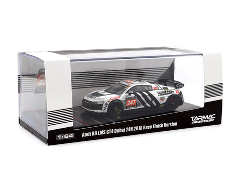 Tarmac Works 1/64 Audi R8 LMS GT4 Dubai 24 hours 2018 Race Finish Version