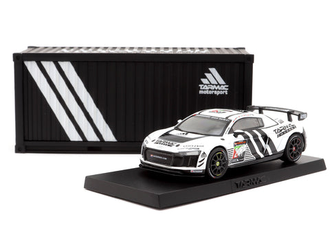 Tarmac Works 1/64 Audi R8 LMS GT4 Dubai 24 hours 2018 Presentation Version with special container