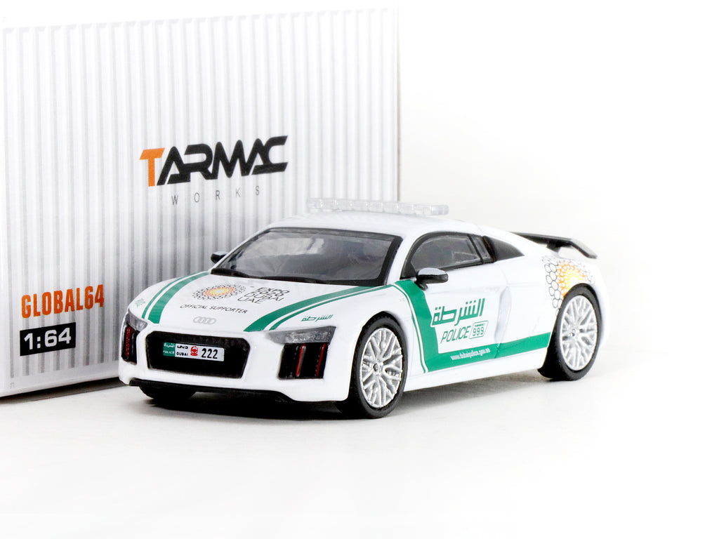 Tarmac Works GLOBAL64 1/64 Audi R8 V10 Plus - Dubai Police