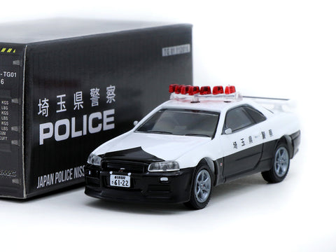 Greenlight x Tarmac Works 1/64 Nissan Skyline GT-R R34 Japan Police