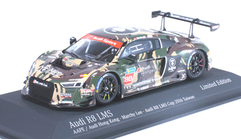 Tarmac Works x Minichamps 1/43 AUDI R8 LMS  - AAPE by A Bathing Ape - Marchy Lee - Audi R8 LMS Cup 2016 Taiwan Round