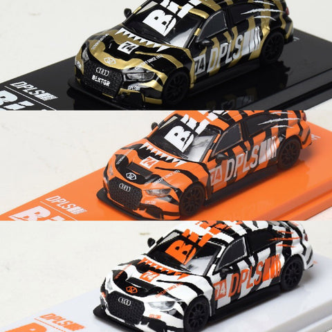 PRE ORDER - Tarmac Works x DPLS 1/64 Audi RS3 LMS BLKTGR - Full Set (Black / White / Orange)