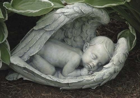 Sleeping Baby in Wings Garden Statue