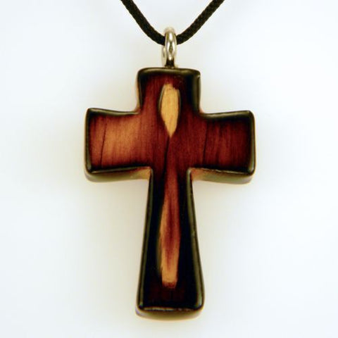 Cross on Cord-Necklace, wooden crosses, burned pine