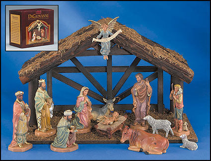 Nativity Set with Wood Stable - 14""