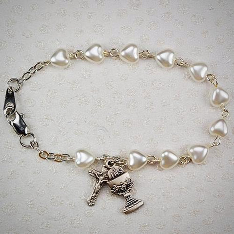 Heart First Communion Bracelet