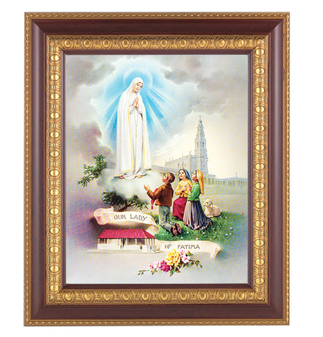 Our Lady of Fatima Cherry Wood Framed Picture