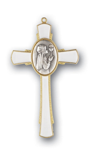 GOLD COMMUNION CROSS WITH GIRL