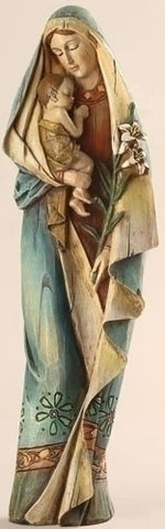 Madonna And Child With Lily Statue 13""