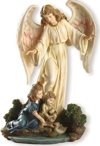 Guardian Angel With Children Statue  8.5""