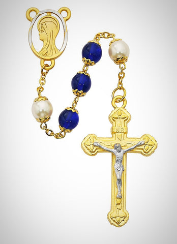 Blue and Pearlized Glass Rosary Boxed