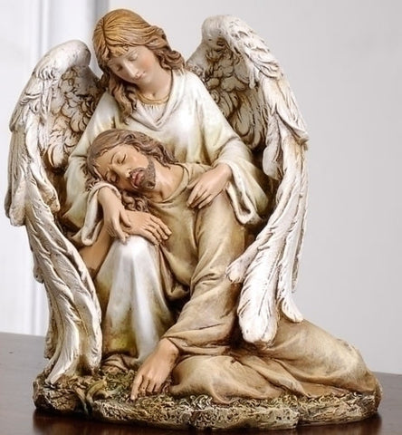 Angel With Fallen Christ Statue  7""