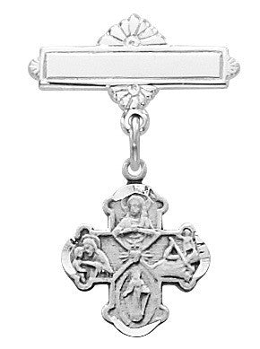 Baby Four Way Cross Pin  Sterling Silver