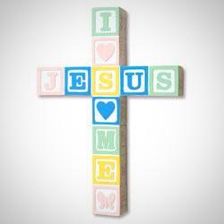 """Jesus Loves Me"" Wall Cross - Pastel"