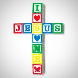 """Jesus Loves Me"" Wall Cross - Primary Colours"