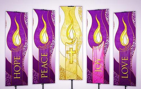 Advent Candle Banner Set of Five