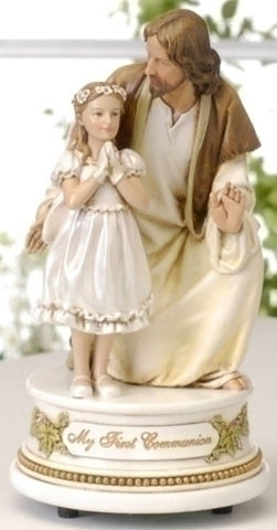Jesus With Girl - Musical First Communion Statue