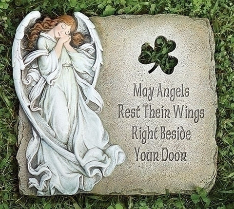 Angel and Shamrock Garden Stone