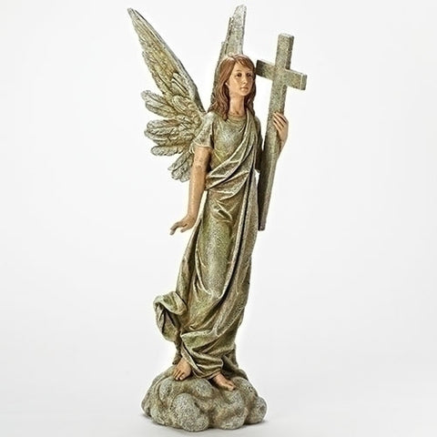 Standing Angel With Cross Statue