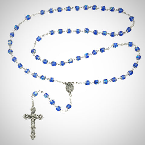 Blue Glass Capped Rosary Boxed