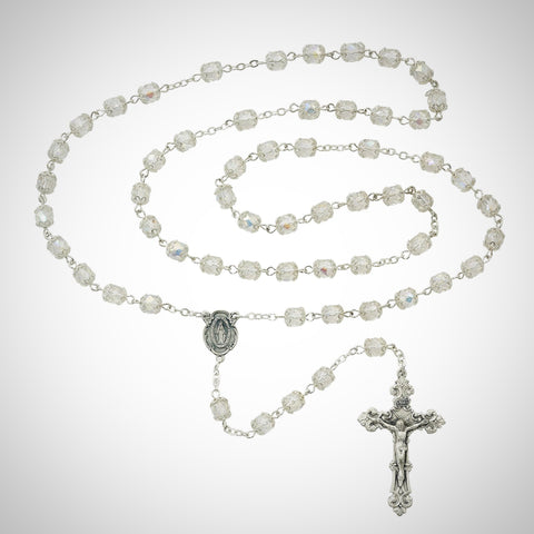 Aurora Glass Capped Rosary Boxed