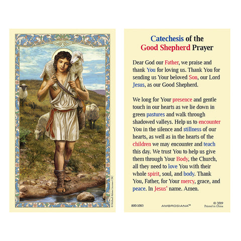 Christ The Good Shepherd Laminated Holy Card