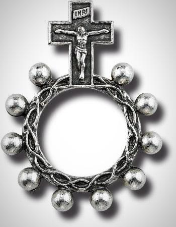 SILVER METAL FINGER ROSARY