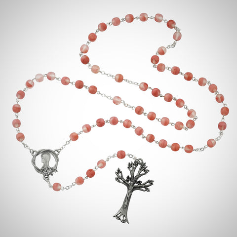 Pink Glass Dogwood Rosary Boxed