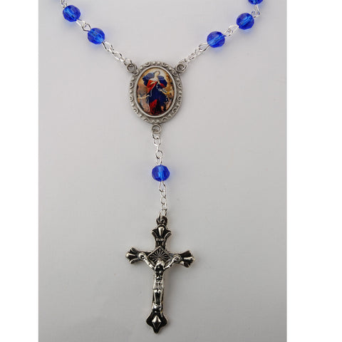 6mm Sapphire Our Lady Undoer Of Knots Auto Rosary