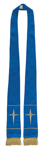 Maltese Cross Jacquard Stole (Blue)