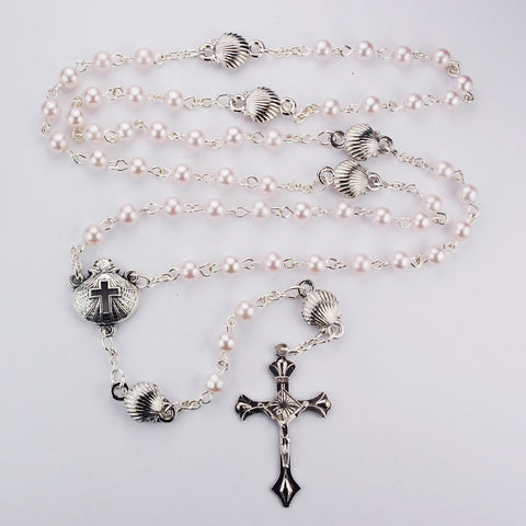 Baby Rosary - Pink with Silver Shells