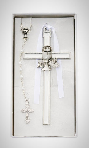 "5"" White Enameled Chalice Cross"