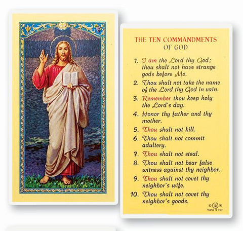 THE TEN COMMANDMENTS HOLY CARD
