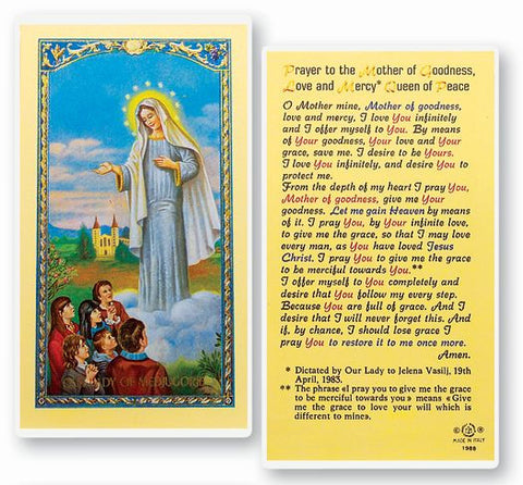 OUR LADY OF MEDJUGORJE HOLY CARD