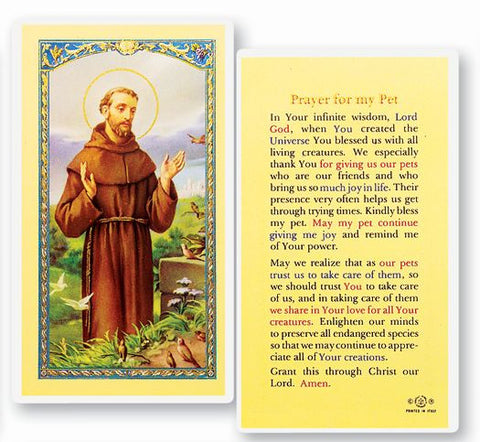 PRAYER FOR MY PET - SAINT FRANCIS HOLY CARD