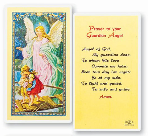 GUARDIAN ANGEL LAMINATED HOLY CARD